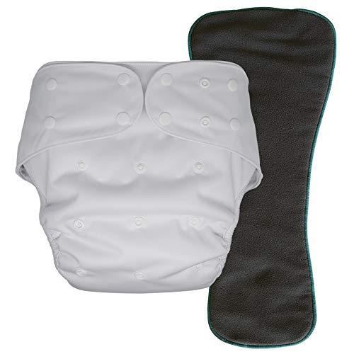 Cloth Diaper Cover with Insert - Reusable Special Needs Incontinence Briefs for Big Kids, Teens and Adults (White, Youth)