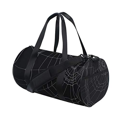 Sports Gym Bag with Goth Spider Web Print, Travel Weekender Duffle Bag for Men Women