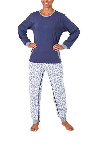Normann Care Damen Pflegeoverall Langarm mit Reissverschluss am Rücken und am Bein 60507, Farbe:blau, Größe:M