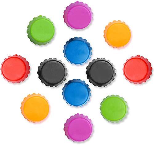 Bolatus - Tappi per bottiglia in silicone, riutilizzabili, 12 pezzi, per conservare birra, vino, 6 colori