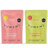 YUMCHI Kimchi Biologique Radis Radieux & Chou - Légumes fermentés asiatiques acidulés avec bactéries intestinales - Kimchi pour soupes, salades et sautés - 2 x 300g (Mix Pack)