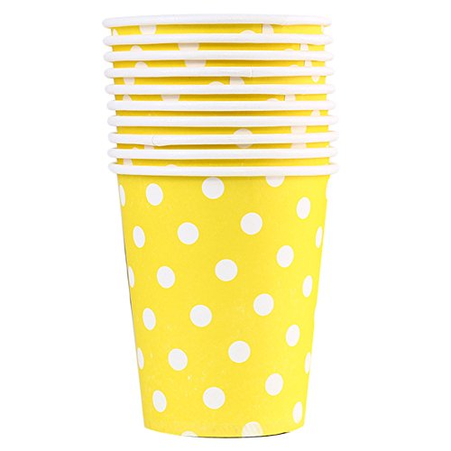 Milopon 10x Gobelets Jetables en Papier Polka Dot Design Tasse pour Anniversaire Mariage Fête Party Jaune