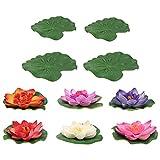 Cabilock 10Pcs Artificial Floating Lotus Flores Folhas Folhagem Artificial Lírios de Água Pond Aquário Enfeites para Casa Pátio Ao Ar Livre Do Partido