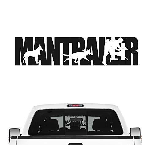 Siviwonder Mantrailer Team Hundesport Auto Aufkleber Hund Folie Rettungshund Suchhund Farbe Schwarz Matt, Größe 80cm