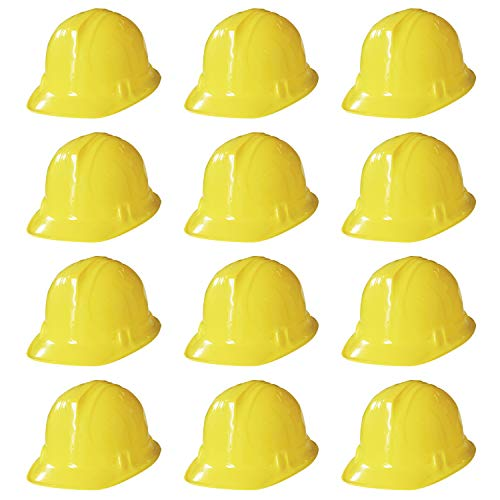 Novelty Place Construction Party Hats - Dress Up Soft Hats for Kids and Adults (Pack of 12)