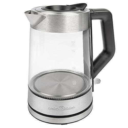 ProfiCook Glas-Wasserkocher PC-WKS 1190 G, 1,7 Liter, 5-farbige temperaturabhängige Wassertankbeleuchtung