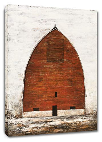 Yihui Arts Red Barn Canvas Wall Art Hand Painted Vintage Farmhouse Oil Paintings Modern Abstract Rustic Decor Pictures for Living Room Bedroom Bathroom Decoration