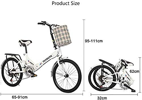 Folding Bikes 20-Inch Folding Speed Bicycle,Student Folding Bike,Men and Women Folding Speed Bicycle Damping Bicycle,Black,shockabsorption