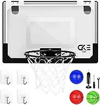 CKE Indoor Mini Basketball Hoop for Door Wall Living Room Office with 3 Balls 4 Non-Marking Hooks 15.7