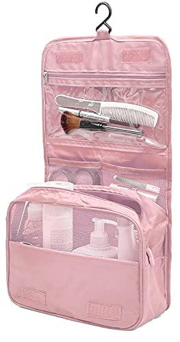 Eleccio Bella Neceser de Maquillaje Portátil Bolsa de Cosméticos Aseo Colgante Organizador para Viaje Lona 4.84Litros (Rosa)