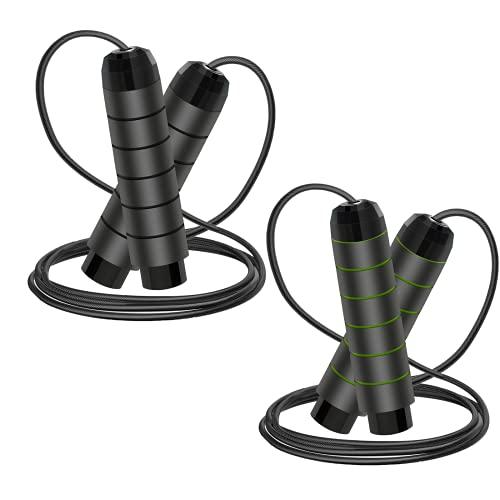 Qiaonato Corda per Saltare, 2 pz Regolabile Lunghezza Salto Corda, Professionale 3M Speed Corda di Salto con la Maniglia di Schiuma di Memoria Molle e Cuscinetti a Sfera, per Fitness Esercizi