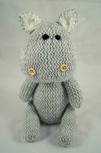 Peluche hippopotame, jouet tricoté à la main, animal en tricot, jouet au crochet, cadeau de baby shower