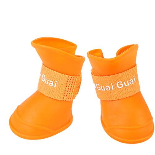 POPETPOP Hund Schuhe Regen Schnee Stiefel Wasserdicht Niedlich Anti-Rutsch Candy Farbe Gummistiefel (Orange Größe M)