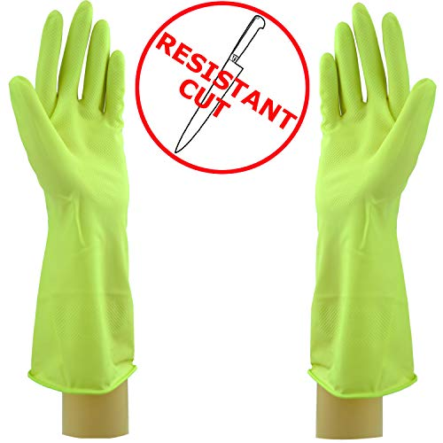 Star 1 Pairs Cut Resistant Latex Gloves | Long Lasting Household Cleaning Gloves | Reusable Kitchen Gloves in Vibrant Colors (Medium x 1 Pair, Lime)……