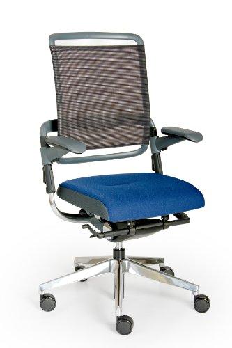 Rohde und Grahl Xenium-net Ergonomischer Bürodrehstuhl, Bezug blau, mit Armlehnen