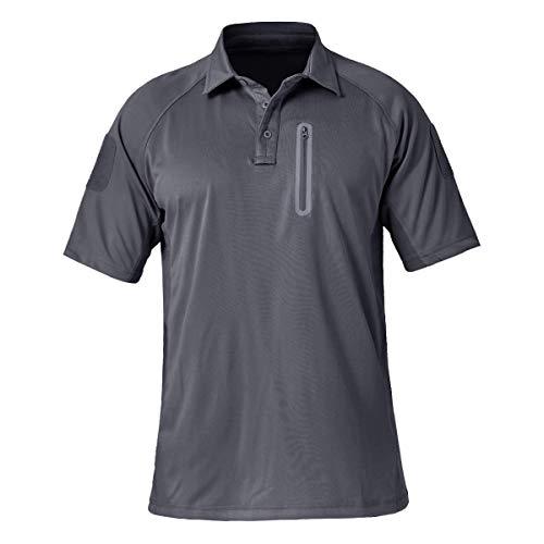 EKLENTSON Herren Polohemd Kurzarm Poloshirt Shirt Freizeit Atmungsaktiv Schnelltrocknend mit RV-Tasche Grau, XL