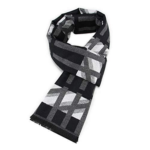 SPARKX Otoño e Invierno clásico Estilo británico señoras Hombres geométricos Jacquard algodón Bufandas,Gray 5,180 * 30CM