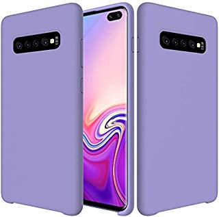 Protective Case Compatible with Samsung Premium Ultra Slim Shockproof Liquid Silicone Soft Rubber Comfortable Protective Case Compatible Samsung Galaxy S10 Plus/S10+ Phone case (Color : Purple)