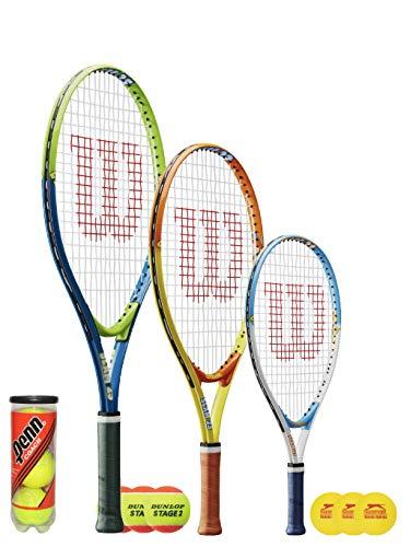 Wilson Slam Junior - Raqueta de tenis + 3 bolas (21,23, 25 pulgadas) (25 pulgadas (edad 9-10), Penn Balls)