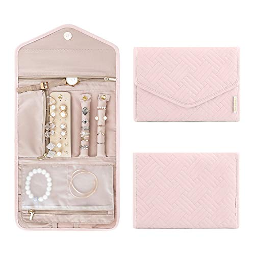 BAGSMART Travel Jewelry Organizer Case Foldable Jewelry Roll for Journey-Rings, Necklaces, Bracelets, Earrings, Light Pink