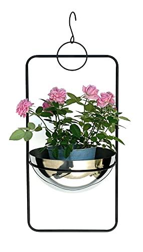 DanDiBo Macetero colgante de metal para pared, 67 cm, 96083 L, con maceta plateada, colgador para plantas,...