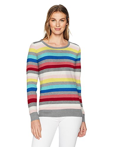 Amazon Essentials Women's Lightweight Long-Sleeve Crewneck Sweater, Multi, X-Small