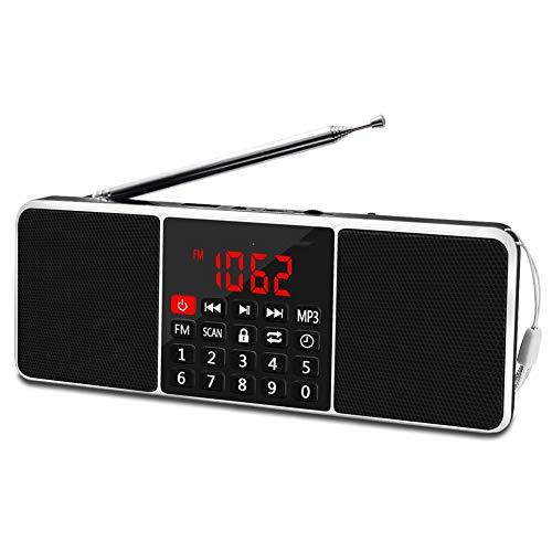 ShiLei Radio estéreo Am FM portátil con función inalámbrica, LED de Pantalla Grande, botón de Silicona, Apagado del Temporizador, Altavoz magnético Incorporado, batería de Iones de Litio Recargable