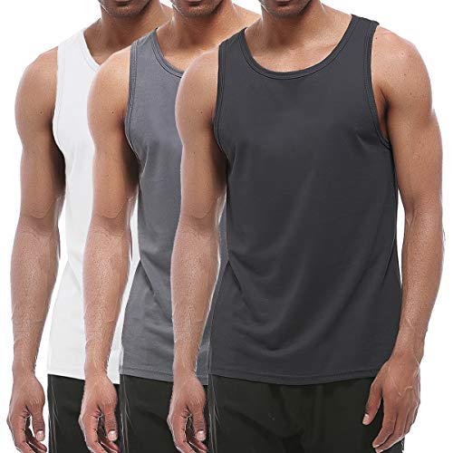 XIHUII Men?s Tank Tops - 3 Pack Workout Gym Sleeveless Training Fitness for Men, Black, White, Gery, X-Large