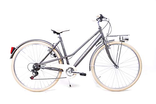 28 Zoll Damen Sport Fahrrad Bike Urban Vintage Shimano 6 Gang Graphit matt STVZO