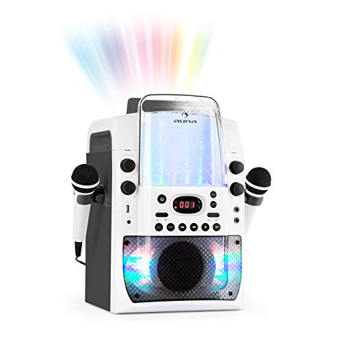auna Kara Liquida BT - Karaoke-Anlage, Karaoke-System, Karaoke-Set, Multicolor-LED-Lichteffekt mit Wasserfontäne, MP3-fähiger USB-Port, Bluetooth, Echo-Effekt und A.V.C-Funktion, weiß-grau