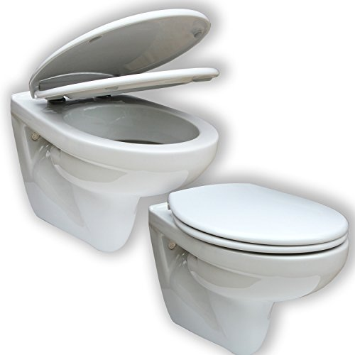 Wand Hänge WC/Gustavsberg Saval 2.0 / inkl. WC Sitz Antares - Absenkautomatik/Weiss/Keramik/Tiefspüler