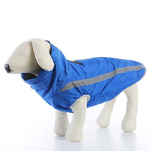 ubest Wasserdicht Hundemantel mit Fleece, Reflektierend Hundejacke Warm Wintermantel Winterjacke für Mittelere Große Hunde, Blau, 4XL