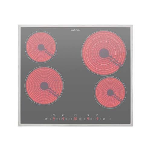 Klarstein Virtuosa 4 Prime - Placa vitrocerámica, acero inoxidable, panel de control táctil, temporizador, potencia ajustable 9 niveles, 59 x 52 cm, 4 zonas de cocción, 6500 vatios total, Carbón