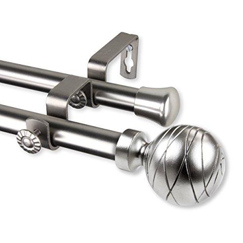 "Rod Desyne 4784-995 Arman 3/4 inch Dia. 120-170""-Satin Nickel Double Curtain Rod Set"