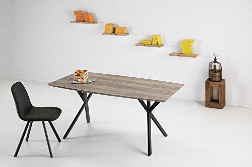 ambiato, Ieren, eettafel, 160 x 90 cm, eiken, grijs, MDF + onderstel, zwart, keukentafel, conferentafel, schrijftafel, houten tafel