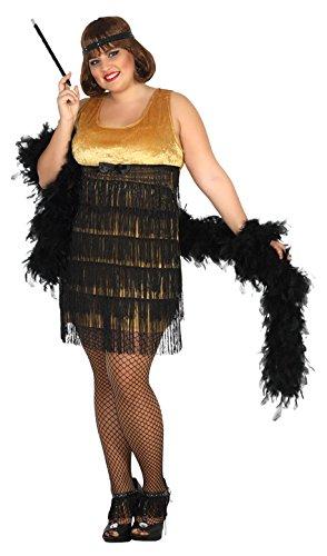 Atosa- Disfraz Mujer Charleston, Color Negro y Dorado, XL (16700)