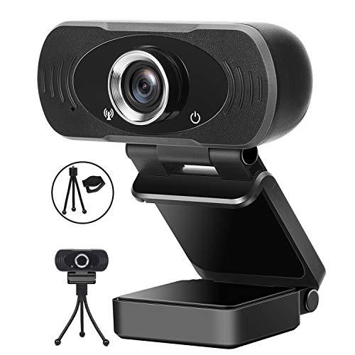 BeTIM 1080P Full HD Webcam, Mit Geräuschunterdrückendem Mikrofon PC Laptop Face Kamera Webcam, Gesichtskamera mit 110° Erweiterter Ansicht Live Streaming Computer USB Webkamera für Videoanrufe Spiele