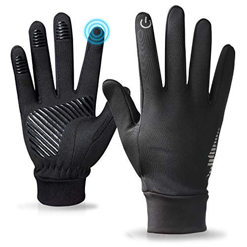 Winter Gloves for Men and Women,Touchscreen Running Gloves for Men Cold Weather Black Warm Light Weight Windproof Gloves for Climbing,Skiing ,Biking, Driving, Hiking Outdoor Sports (Dark Black, XL)