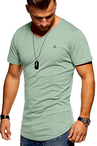 JACK & JONES Herren T-Shirt Kurzarmshirt Oversize Longshirt Basic V-Neck (Large, Iceberg Green)