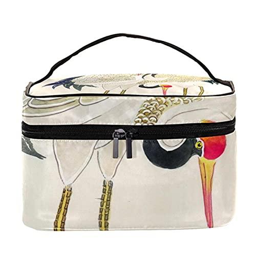 Bolsa de maquillaje de viaje con patrón de grúa, grande, bolsa de maquillaje, organizador con cremallera, para mujeres y niñas