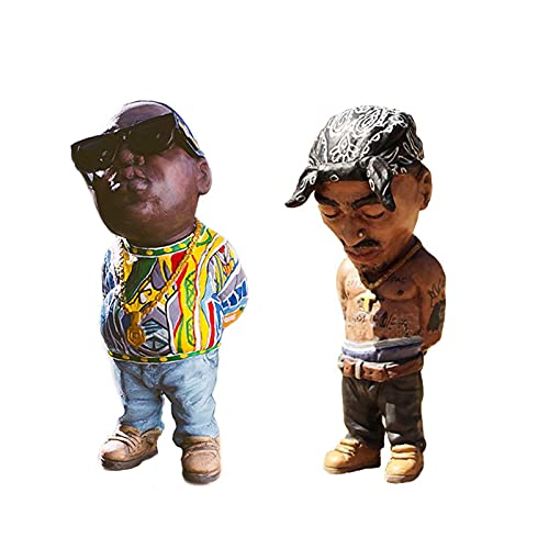 2 Pieces Gift for Hip Hop Lover Figurines Alkyne Legend Commemorative Resin Figurines Ornaments - Handmade The Late Rap Music Star Sculptures 4in, Funny Gimmick , Friends