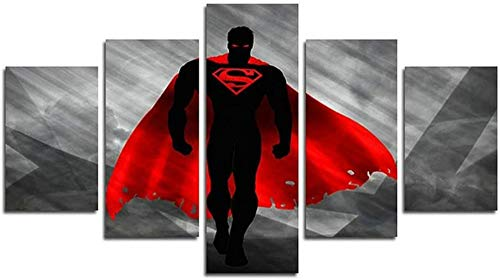 Gmoope Prints On Canvas 5 Piece Wall Art Print Canvas Painting Batman V Superman Dawn Of Justice Film Hd Print 5 Panel Canvas Pictures Poster Home Wall Decoration Artwork Mural Photo