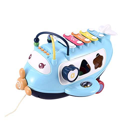 HOVTOIL Aviones Xilófono Juguetes Bebé Plástico Avión 5 Notas Xilófono Instrumento De Música Juguetes Educativos para Niños Juguete Interactivo, Rompecabezas, Regalo para Niños Azul Talla ún
