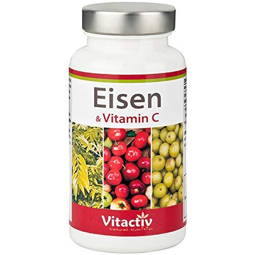 EISEN & VITAMIN C - das erste rein pflanzliche Eisenpräparat mit viel Vitamin C - hochdosiert - Eisen aus Curryblättern – Vitamin C aus Amla und Acerola-Kirsche - hoch bioverfügbar - 60 Kapseln