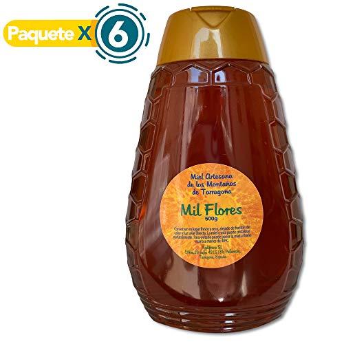 Paquete x 6 - Miel de Mil Flores - 500 gr x Botella. Miel natural, no pasteurizada ni calentada. Miel pura producida en España. Miel cruda con aroma floral y exquisito sabor.