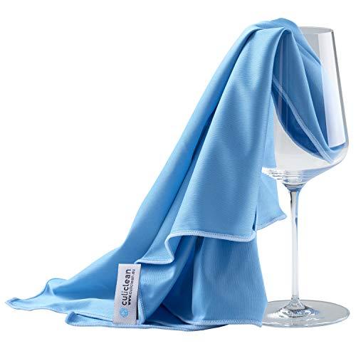 culiclean 2 Mikrofaser Poliertücher Glaspoliertücher Gläserpoliertuch Abtrocknungstücher auch für hochglänzende und Hochglanzoberflächen - Made in Austria (2 Stück Packung 40x60cm, blau-blau)