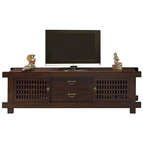 ChinaFurnitureOnline Elmwood Shinto Media Cabinet, 80 Inches Hand Crafted Japanese Style Sideboard in Mahogany Finish