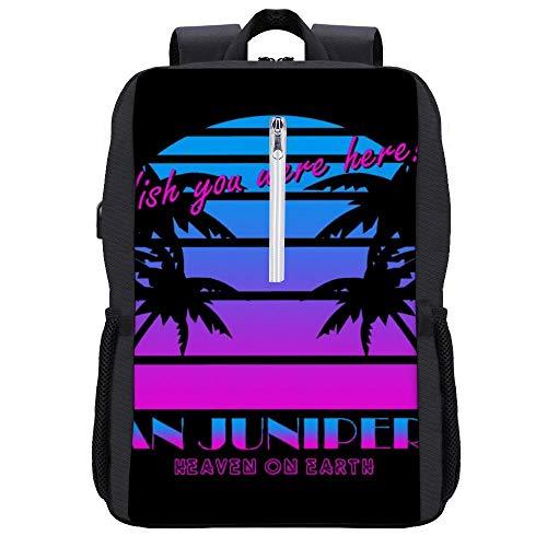 Rucksack San Junipero Wish You Were Here 80s Daypack Bookbag Laptop Schultasche mit USB-Ladeanschluss