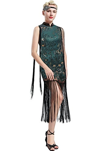 ArtiDeco 1920s Kleid Damen chinesisches Etuikleid Stil Blumen Pailletten Ohne Arm Retro 20er Jahre Gatsby Kleid Art Deco Flapper Kostüm Kleid (Dunkelgrün, X-Large)