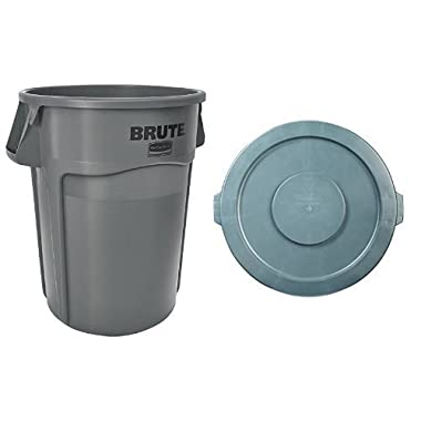 Rubbermaid Commercial Brute Trash Can WITH Matching Lid (Vented, 32 gallon, Gray, FG263200GRAY and FG263100GRAY)